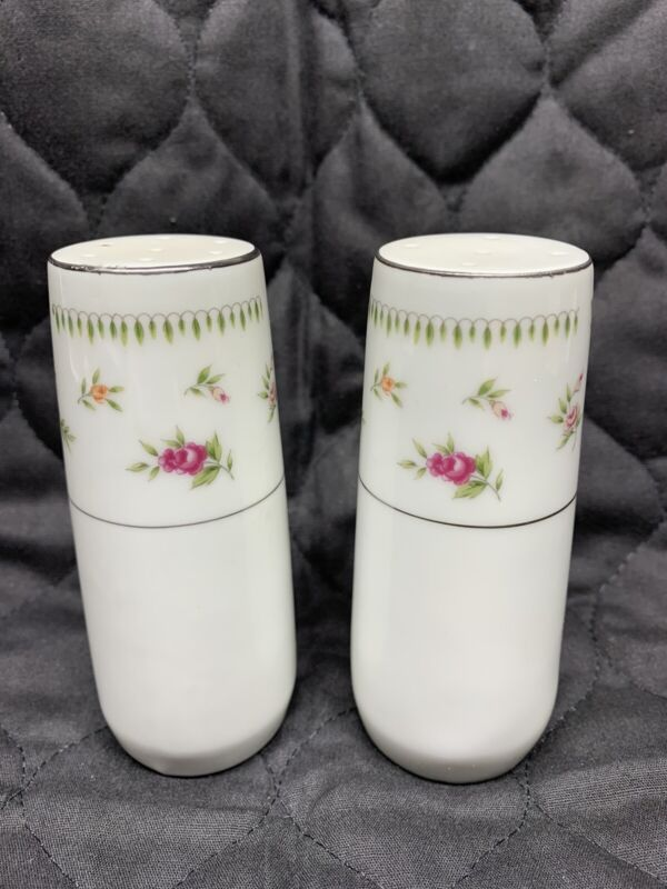 "Abingdon Fine China Made in Japan 4"" Salt & Pepper • Pink/Peach/Rose Floral"