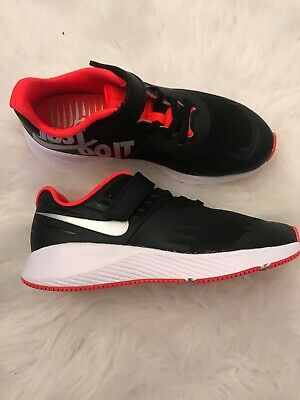 f98084fb54 NEW NIKE Run Big Kids Boys Running Shoes Black/pink Just Do It Size 1.5