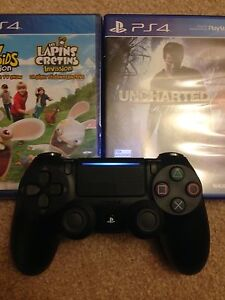 New PS4 Controller + 2 games (Uncharted 4, Rabbids Invasion) $80