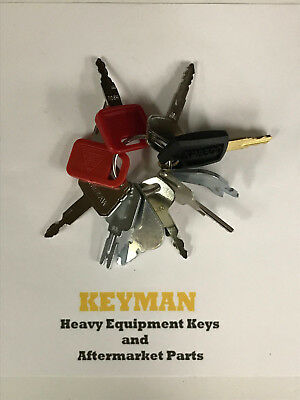 Construction Ignition Key Set 10 Keys Heavy Equipment Cat Case Jd Komatsu Hyster