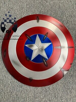 60CM Captain America Shield 1:1  Full Aluminum Metal BATTLE DAMAGE + FREE STAND