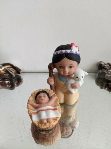 Vintage HOMCO Native American Indian Nativity Shepherd & Baby Jesus Replacement
