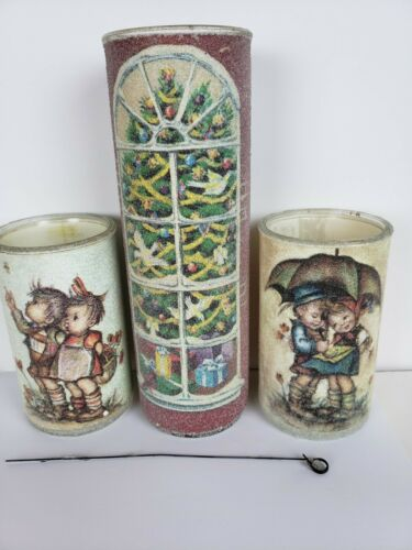 Lot of 3 Vintage Sugar Frosted Christmas Candles