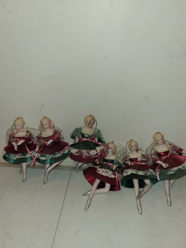 Lot Of 6 Vintage Made In Taiwan Porcelain Bisque Ballerina Christmas Ornaments