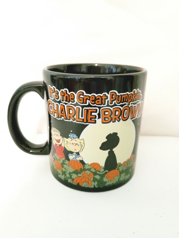 NEW Peanuts Snoopy GREAT PUMPKIN BELIEVER 2 Sided Black  Coffee Mug halloween