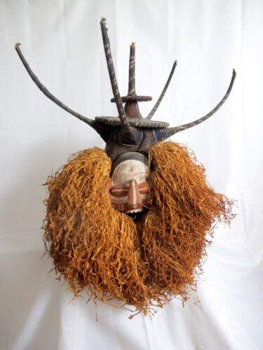 African Yaka DRC N-Khanda Carved Wood Raffia Hand Held Initiation Mask