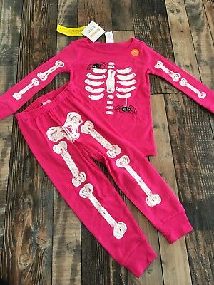 Gymboree Halloween (Gymboree Halloween Pink Girls Spider Skeleton  Glow in the Dark Pjs Nwt Size)