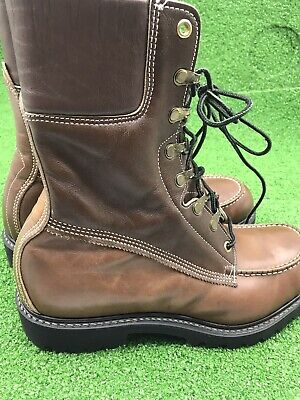 """Iron Age 8"""" Men's Leather US SZ 7C Steel Toe Classic Brown Work Boots Lace Up"""