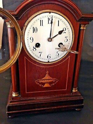 Antique Sheraton Revival 1910 Edwardian Mantle Clock 8 Day English Clock
