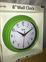 Equity # 25016 by La Crosse~ 8 Plastic Analog Wall Clock~Green~Battery Operated