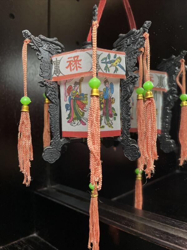 1960's Mini Chinese Palace Lantern: Foldable Plastic Panels & Cloth Fabric