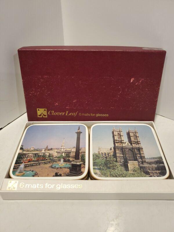 Vintage Clover Leaf Coasters Set of 6 Mats for Glasses  London Scenes in Box