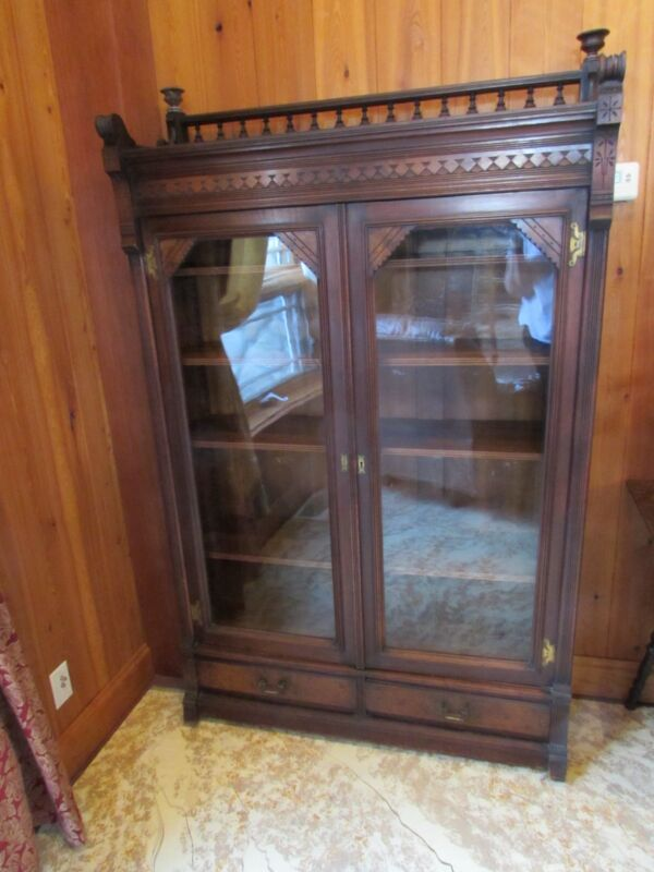 Antique Victorian Walnut 1880 Eastlake Style Bookcase USA
