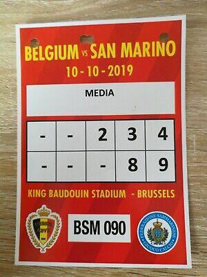 Ticket Presse Cars : EURO 2020 BELGIQUE - SAN MARINO 10-10-2019