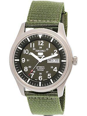 Seiko Men's 5 Automatic SNZG09K Green Nylon Self Wind Fashion Watch
