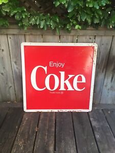 Vintage Coca Cola Sign - Steel 1985 - 2 ft. Wide x 2 ft. High