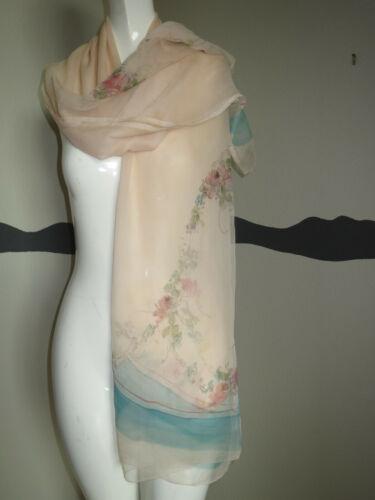 Vintage 1920s Pure Silk Chiffon Scarf Shawl