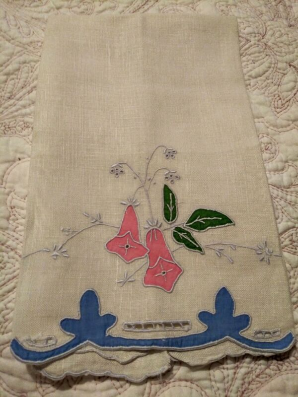 """Beautiful Madeira Floral Applique & Embroidered Linen Hand Towel 22""""x13"""" #1"""