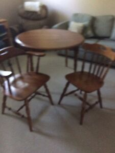Solid Maple Small Dining Table and Two Solid Maple chairs