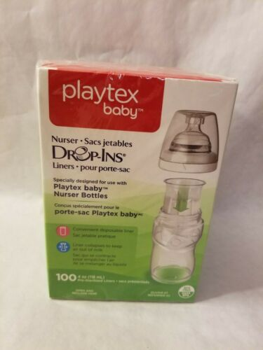 Playtex Baby Bottle Drop In Liners 4 oz 100 count  New Fcatroy Sealed