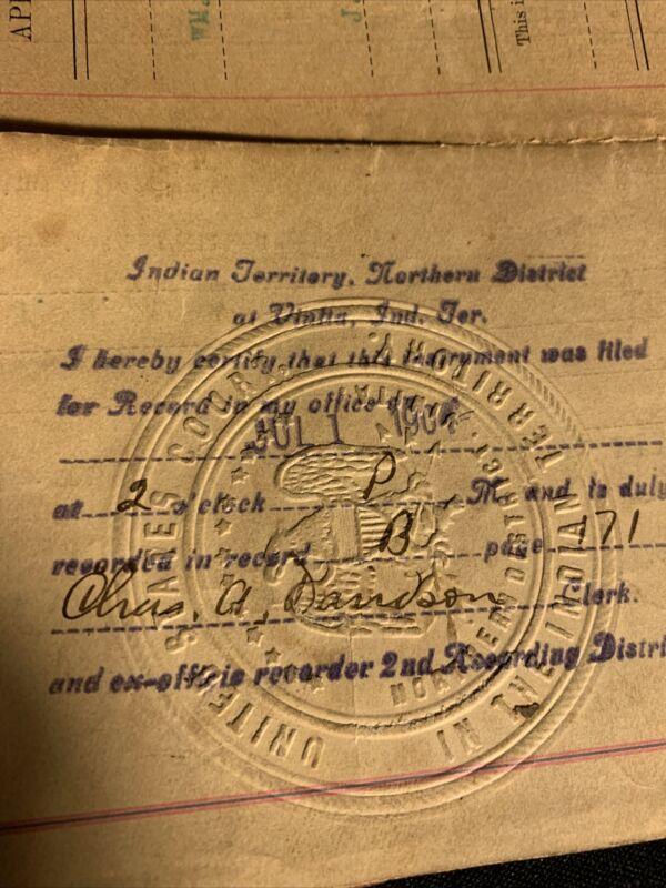 Indian Territory north district 1902 deed + check Miller Vinita chelsea Okla