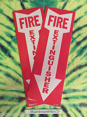 Lot Of 2 Self-adhesive Vinyl Fire Extinguisher Arrow Signs...4 X 12 New