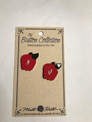 Mill Hill Ceramic Red Apple Buttons