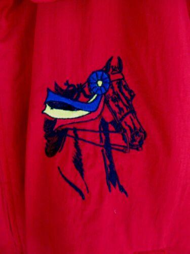 Red Medium Auburn Nylon Jacket Equestrian Horse With Ribbons Stitched USA