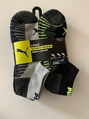 Puma Mens Training Low-cut socks 6-pack Black Grey Size 10-13 Quarter Crew