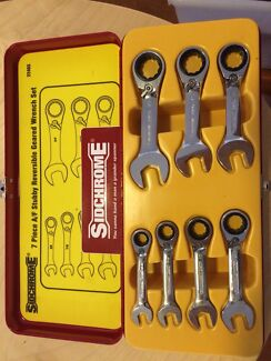 Sidchrome 7 piece AF stubby reversible geared wrench set (PN: 22403)