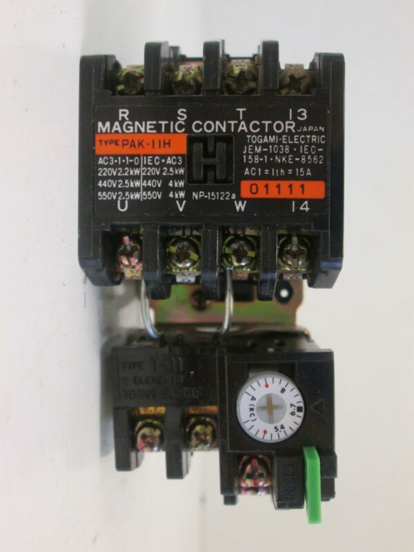 Togami Electric PAK-11H Magnetic Contactors w/ T-11 & G-11 Time Relays