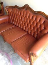 3 piece Leather lounge set sofa armchair red brown Waratah Newcastle Area Preview