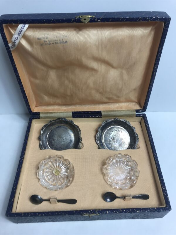 Vintage Argento 800 Silver Spoons & Trays Cut Crystal Salt Cellars in Box Italy