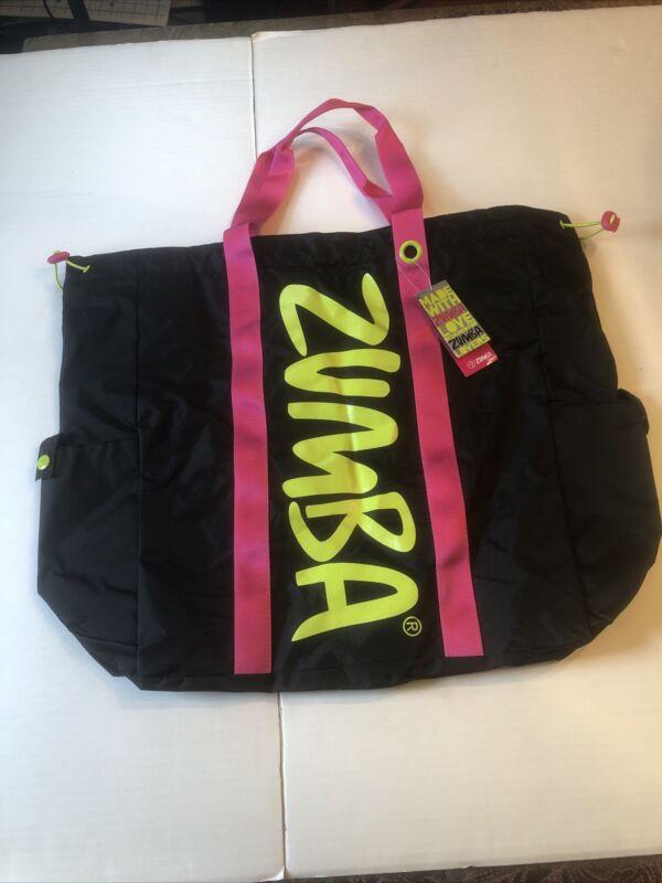 Zumba Awesome Tote Bag Black Pink Straps Green Zumba Logo Huge Drawstring Pocket