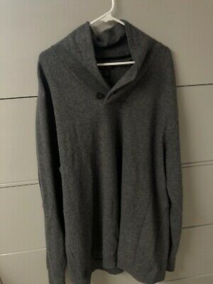 Mens 2XLT Tasso Elba Grey Sweater Single Button Up Tasso Elba Mens Single
