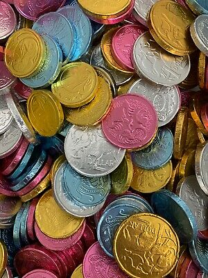 MILK CHOCOLATE COINS MIX GOLD SILVER PINK BLUE 750G APPROX 100 PIECES XMAS GIFTS