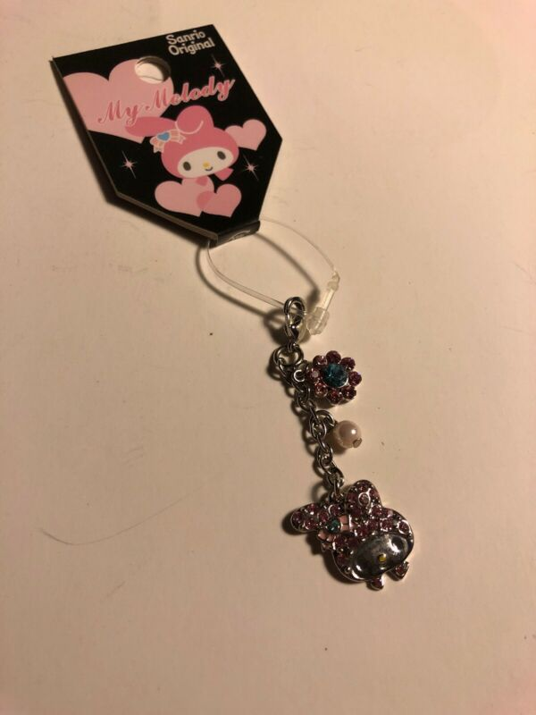Rare Mini Sanrio Original Japan 2008 Charm Zipper Pull My Melody Rhinestone LOOK