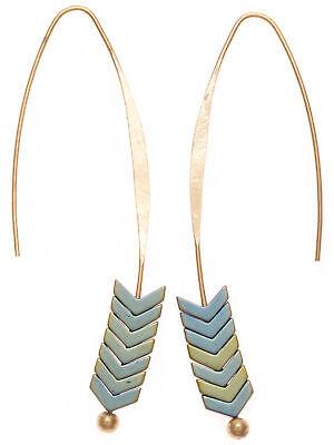 tgrün und Goldfarbe Moderne Creolen mit Pfeil Ovale Ohrringe (Mint-grün Und Gold)