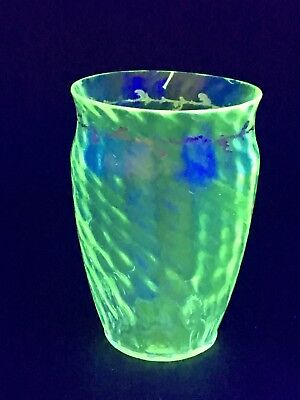 Very Rare Emile Galle c.1885 Crystal Crystellerie Uranium Green Glass Posy Vase