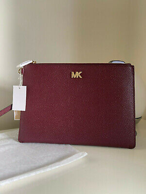 Brand New Michael Kors Medium Red Leather Wristlet Clutch Pouch Bag