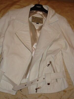 LADIES / GIRLS WHITE LEATHER JACKET SIZE 10 for sale  Shipping to South Africa