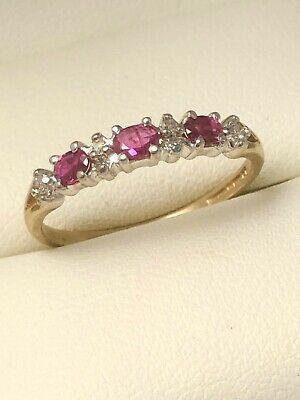 Beautiful Vintage 9ct Yellow Gold Ruby & Diamond Eternity Ring Size O