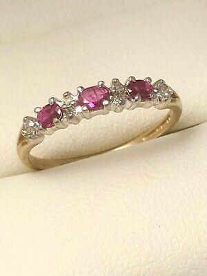 Beautiful Vintage 9ct Yellow Gold Ruby & Diamond Eternity Ring Size O