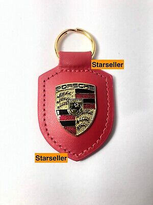 NEW IN BOX OEM PORSCHE CREST genuine Red leather Keyring Key Chain KeyFob