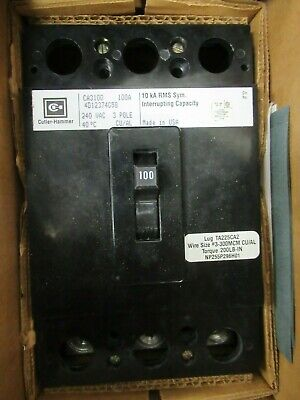 Cutler Hammer Ca3100 100 Amp 240 Volt 3 Pole Circuit Breaker- New