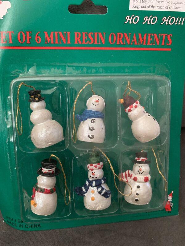 Set Of 6 Mini Snowman Ornaments.   BS