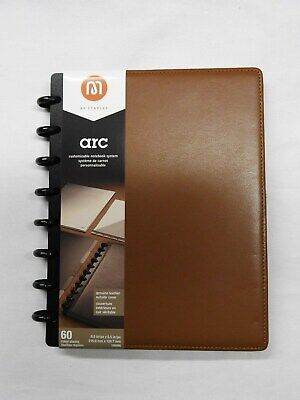 Arc Customizable Notebook System - 60 Sheets - 8.5 X 5.5 - Brown Leather - New