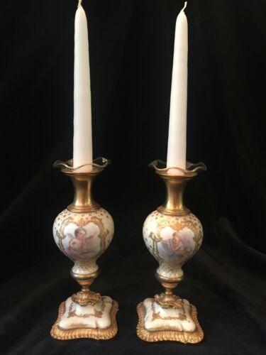 Pair of Antique French Sevres Porcelain Gilt Bronze Ormolu Candlesticks