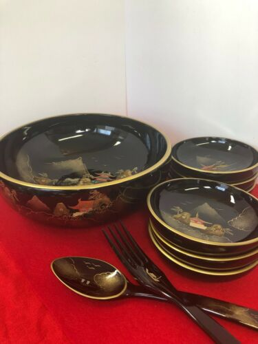 Antique~Japanese Lacquered Salad Serving Set ~ Inlayed with Mother of Pearls