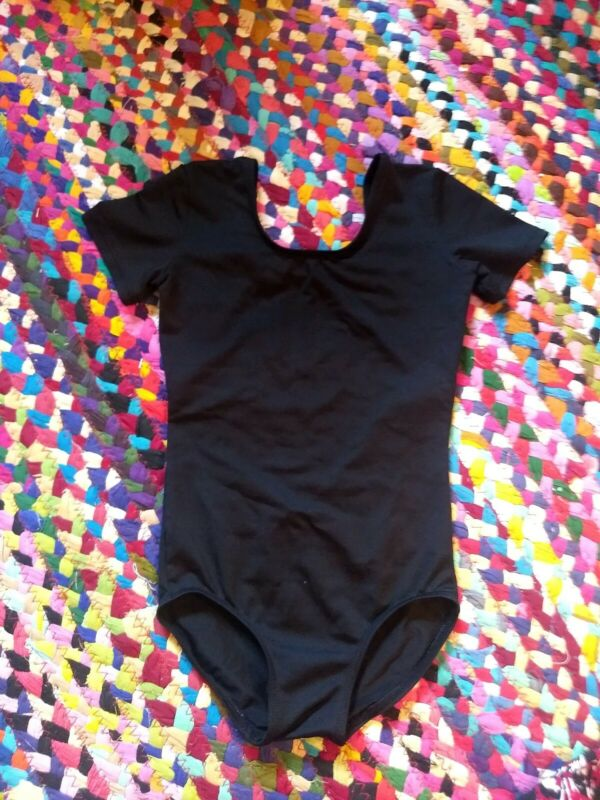 Danskin Short Sleeve Black Dance Gymnastics Leotard Child Small 4/6 or M